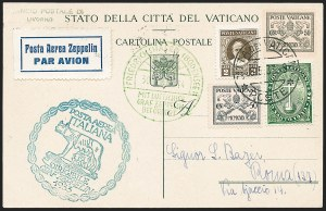 Sale Number 1220, Lot Number 422, Vatican City Flight and Zeppelin Covers  - from the Rev. Mullowney EstateVATICAN CITY, 1933, Italian Flight (Sieger 208Vo), VATICAN CITY, 1933, Italian Flight (Sieger 208Vo)