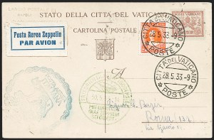 Sale Number 1220, Lot Number 423, Vatican City Flight and Zeppelin Covers  - from the Rev. Mullowney EstateVATICAN CITY, 1933, Italian Flight (Sieger 208Vo), VATICAN CITY, 1933, Italian Flight (Sieger 208Vo)