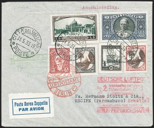 Sale Number 1220, Lot Number 424, Vatican City Flight and Zeppelin Covers  - from the Rev. Mullowney EstateVATICAN CITY, 1933, Second South America Flight (Sieger 214B), VATICAN CITY, 1933, Second South America Flight (Sieger 214B)