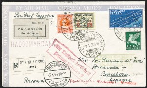 Sale Number 1220, Lot Number 425, Vatican City Flight and Zeppelin Covers  - from the Rev. Mullowney EstateVATICAN CITY, 1933, Second South American Flight, Barcelona Drop (Sieger 214C), VATICAN CITY, 1933, Second South American Flight, Barcelona Drop (Sieger 214C)