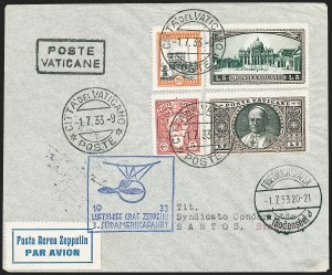 Sale Number 1220, Lot Number 426, Vatican City Flight and Zeppelin Covers  - from the Rev. Mullowney EstateVATICAN CITY, 1933, Third South American Flight (Sieger 219Aa), VATICAN CITY, 1933, Third South American Flight (Sieger 219Aa)