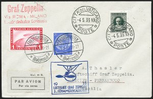 Sale Number 1220, Lot Number 427, Vatican City Flight and Zeppelin Covers  - from the Rev. Mullowney EstateVATICAN CITY, 1933, Third South American Flight (Sieger 219Aa), VATICAN CITY, 1933, Third South American Flight (Sieger 219Aa)