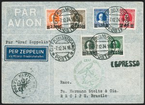 Sale Number 1220, Lot Number 429, Vatican City Flight and Zeppelin Covers  - from the Rev. Mullowney EstateVATICAN CITY, 1934 Christmas Flight (Sieger 286), VATICAN CITY, 1934 Christmas Flight (Sieger 286)