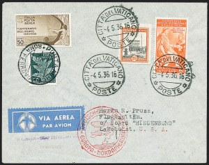"Sale Number 1220, Lot Number 430, Vatican City Flight and Zeppelin Covers  - from the Rev. Mullowney EstateVATICAN CITY, 1936, First North American Flight of the ""Hindenburg"" (Sieger 406C), VATICAN CITY, 1936, First North American Flight of the ""Hindenburg"" (Sieger 406C)"