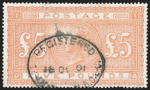 Sale Number 1220, Lot Number 7, Great BritainGREAT BRITAIN, 1882, £5 Orange (93; SG 137), GREAT BRITAIN, 1882, £5 Orange (93; SG 137)