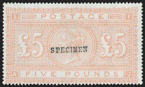 "Sale Number 1220, Lot Number 8, Great BritainGREAT BRITAIN, 1882, £5 Bright Orange on Bluish Paper, ""Specimen"" Overprint (93aS; SG 137s; SG Specialised J128t), GREAT BRITAIN, 1882, £5 Bright Orange on Bluish Paper, ""Specimen"" Overprint (93aS; SG 137s; SG Specialised J128t)"