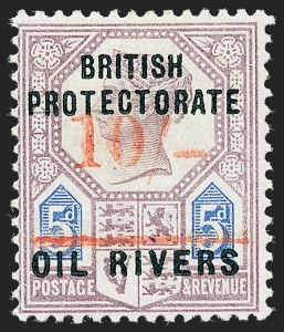 Sale Number 1220, Lot Number 98, Malta thru St. HelenaNIGER COAST PROTECTORATE, 1893, 10sh on 5sh Lilac & Blue, Red Surcharge (33; SG 41), NIGER COAST PROTECTORATE, 1893, 10sh on 5sh Lilac & Blue, Red Surcharge (33; SG 41)
