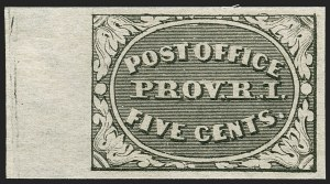 Sale Number 1221, Lot Number 1078, Postmasters' ProvisionalsProvidence, Rhode Island, 5c Gray Black (10X1), Providence, Rhode Island, 5c Gray Black (10X1)