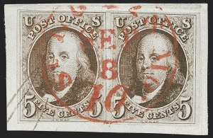 Sale Number 1221, Lot Number 1082, 1847 Issue and 1875 Reproduction (Scott 1-4)5c Red Brown (1), 5c Red Brown (1)