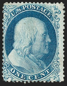 Sale Number 1221, Lot Number 1115, 1857-60 Issue (Scott 18-39)1c Blue, Ty. Ia (19), 1c Blue, Ty. Ia (19)