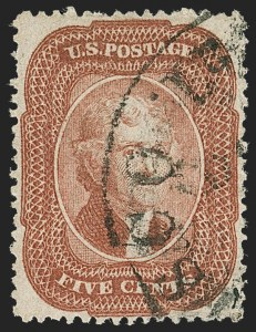 Sale Number 1221, Lot Number 1123, 1857-60 Issue (Scott 18-39)5c Brick Red (27), 5c Brick Red (27)