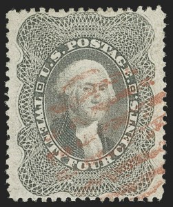 Sale Number 1221, Lot Number 1128, 1857-60 Issue (Scott 18-39)24c Gray Lilac (37), 24c Gray Lilac (37)