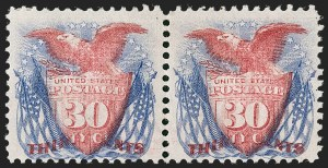 Sale Number 1221, Lot Number 1253, 1869 Pictorial Issue (Scott 112-122)30c Ultramarine & Carmine (121), 30c Ultramarine & Carmine (121)