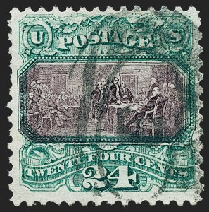 Sale Number 1221, Lot Number 1280, 1875 Re-Issue of 1869 Pictorial Issue (Scott 123-133a)24c Green & Violet, Re-Issue (130), 24c Green & Violet, Re-Issue (130)