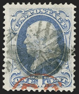 Sale Number 1221, Lot Number 1287, 1870-71 National Bank Note Co. Grilled Issue (Scott 134-144)1c Ultramarine, H. Grill (134), 1c Ultramarine, H. Grill (134)