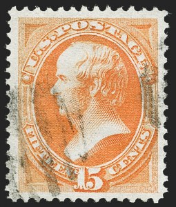 Sale Number 1221, Lot Number 1295, 1870-71 National Bank Note Co. Grilled Issue (Scott 134-144)15c Orange, H. Grill (141), 15c Orange, H. Grill (141)