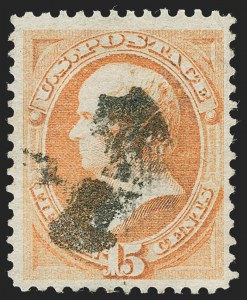 Sale Number 1221, Lot Number 1296, 1870-71 National Bank Note Co. Grilled Issue (Scott 134-144)15c Orange, H. Grill (141), 15c Orange, H. Grill (141)