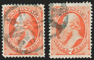 Sale Number 1221, Lot Number 1304, 1870-71 National Bank Note Co. Grilled Issue (Scott 134-144)7c Vermilion, I. Grill (138A), 7c Vermilion, I. Grill (138A)