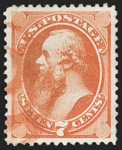 Sale Number 1221, Lot Number 1314, 1870-73 National & Continental Issues (Scott 145-166)7c Orange Vermilion (160), 7c Orange Vermilion (160)
