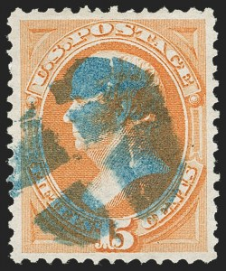 Sale Number 1221, Lot Number 1316, 1870-73 National & Continental Issues (Scott 145-166)15c Yellow Orange (163), 15c Yellow Orange (163)