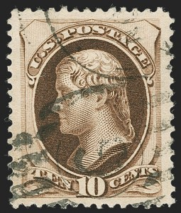 Sale Number 1221, Lot Number 1324, 1875-79 Bank Note Co. Issues (Scott 178-190)10c Brown, With Secret Mark (188), 10c Brown, With Secret Mark (188)