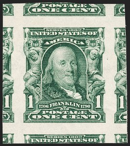 Sale Number 1221, Lot Number 1449, 1902-08 Issues (Scott 300-320)1c Blue Green, Imperforate (314), 1c Blue Green, Imperforate (314)