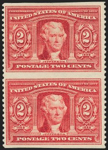 Sale Number 1221, Lot Number 1458, 1904 Louisiana Purchase Issue (Scott 323-327)2c Louisiana Purchase, Vertical Pair, Imperforate Horizontally (324a), 2c Louisiana Purchase, Vertical Pair, Imperforate Horizontally (324a)