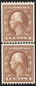 Sale Number 1221, Lot Number 1461, 1908-12 Washington-Franklin and Commemorative Issues (Scott 331-396)4c Orange Brown, Coil (350), 4c Orange Brown, Coil (350)
