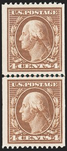 Sale Number 1221, Lot Number 1462, 1908-12 Washington-Franklin and Commemorative Issues (Scott 331-396)4c Orange Brown, Coil (350), 4c Orange Brown, Coil (350)