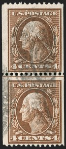 Sale Number 1221, Lot Number 1463, 1908-12 Washington-Franklin and Commemorative Issues (Scott 331-396)4c Orange Brown, Coil (350), 4c Orange Brown, Coil (350)