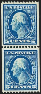 Sale Number 1221, Lot Number 1464, 1908-12 Washington-Franklin and Commemorative Issues (Scott 331-396)5c Blue, Coil (351), 5c Blue, Coil (351)
