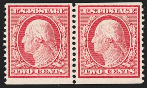 Sale Number 1221, Lot Number 1466, 1908-12 Washington-Franklin and Commemorative Issues (Scott 331-396)2c Carmine, Coil (353), 2c Carmine, Coil (353)