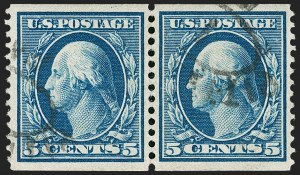 Sale Number 1221, Lot Number 1468, 1908-12 Washington-Franklin and Commemorative Issues (Scott 331-396)5c Blue, Coil (355), 5c Blue, Coil (355)