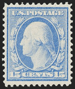 Sale Number 1221, Lot Number 1477, 1908-12 Washington-Franklin and Commemorative Issues (Scott 331-396)15c Pale Ultramarine, Bluish (366), 15c Pale Ultramarine, Bluish (366)