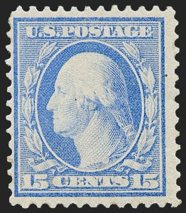 Sale Number 1221, Lot Number 1479, 1908-12 Washington-Franklin and Commemorative Issues (Scott 331-396)15c Pale Ultramarine, Bluish (366), 15c Pale Ultramarine, Bluish (366)