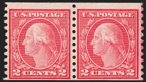 Sale Number 1221, Lot Number 1513, 1912-20 Washington-Franklin Issues (Scott 405-544)2c Carmine, Ty. II, Coil (491), 2c Carmine, Ty. II, Coil (491)