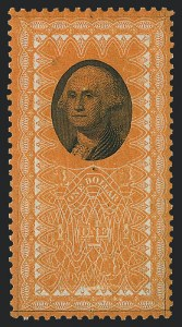 Sale Number 1221, Lot Number 1720, Revenues, Essays and Proofs$1.00 Washington, Orange & Black Plate Essay, Perforated and Gummed (Turner Essay 26-C var), $1.00 Washington, Orange & Black Plate Essay, Perforated and Gummed (Turner Essay 26-C var)