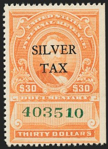 Sale Number 1221, Lot Number 1773, Revenues, Silver Tax$30.00 Vermilion, Silver Tax (RG19), $30.00 Vermilion, Silver Tax (RG19)