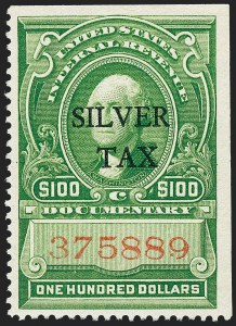 Sale Number 1221, Lot Number 1774, Revenues, Silver Tax$100.00 Green, Silver Tax (RG21), $100.00 Green, Silver Tax (RG21)