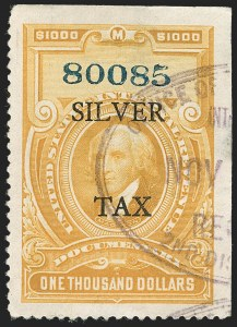 "Sale Number 1221, Lot Number 1776, Revenues, Silver Tax$1,000.00 Orange, 11mm Between ""Silver"" and ""Tax"" (RG27), $1,000.00 Orange, 11mm Between ""Silver"" and ""Tax"" (RG27)"