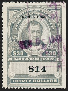"Sale Number 1221, Lot Number 1784, Revenues, Silver Tax$30.00 Gray, ""Series 1942"" Ovpt., Silver Tax (RG102), $30.00 Gray, ""Series 1942"" Ovpt., Silver Tax (RG102)"