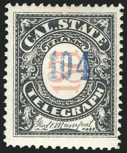 Sale Number 1221, Lot Number 1806, TelegraphsCalifornia State Telegraph Co., 1871, Black & Salmon, Blue Number (5T4), California State Telegraph Co., 1871, Black & Salmon, Blue Number (5T4)
