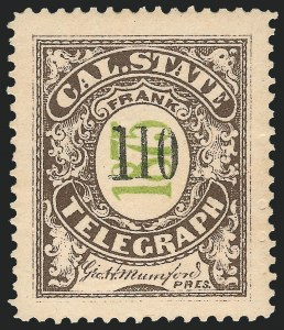 Sale Number 1221, Lot Number 1808, TelegraphsCalifornia State Telegraph Co., 1875, Brown & Green, Black Number (5T8), California State Telegraph Co., 1875, Brown & Green, Black Number (5T8)
