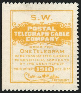 Sale Number 1221, Lot Number 1813, TelegraphsPostal Telegraph Co., 1910, Yellow, El Paso Southwestern Railroad, Official, Watermarked (15TO26 var), Postal Telegraph Co., 1910, Yellow, El Paso Southwestern Railroad, Official, Watermarked (15TO26 var)
