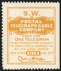 Sale Number 1221, Lot Number 1814, TelegraphsPostal Telegraph Co., 1911, Yellow, El Paso Southwestern Railroad, Official (15TO27), Postal Telegraph Co., 1911, Yellow, El Paso Southwestern Railroad, Official (15TO27)