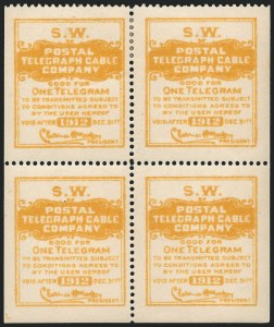 Sale Number 1221, Lot Number 1815, TelegraphsPostal Telegraph Co., 1912, Yellow, El Paso Southwestern Railroad, Official (15TO28), Postal Telegraph Co., 1912, Yellow, El Paso Southwestern Railroad, Official (15TO28)