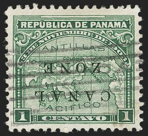 Sale Number 1221, Lot Number 1821, U.S. PossessionsCANAL ZONE, 1904, 1c Green, Inverted Ovpt. (9c, CZSG 9c), CANAL ZONE, 1904, 1c Green, Inverted Ovpt. (9c, CZSG 9c)