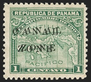 Sale Number 1221, Lot Number 1822, U.S. PossessionsCANAL ZONE, 1904, 1c Green, Double Ovpt. (9d, CZSG 9d), CANAL ZONE, 1904, 1c Green, Double Ovpt. (9d, CZSG 9d)