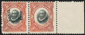 Sale Number 1221, Lot Number 1825, U.S. PossessionsCANAL ZONE, 1918, 2c Vermilion & Black, Horizontal Pair, Right Stamp Without Ovpt. (53b), CANAL ZONE, 1918, 2c Vermilion & Black, Horizontal Pair, Right Stamp Without Ovpt. (53b)
