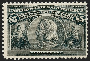 Sale Number 1221, Lot Number 1855, Group Lots (most with website PDF scans)30c-$5.00 Columbian (239, 241, 243-245), 30c-$5.00 Columbian (239, 241, 243-245)